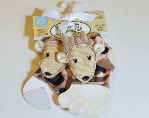 Boys ANGEL DEAR camo deer socks 0-3-6-12 months NWT gripper green peep toe shoes