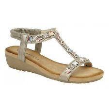 b430b3b91 Cipriata LIA Ladies Womens Ankle Strap T Bar Wedge Heel Open Toe Sandals  Pewter