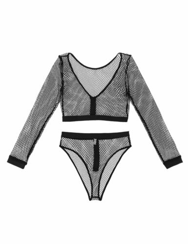 2Pcs Women See Through Sheer Fishnet Lingerie Sets Crop TopsUnderwear Nightwear