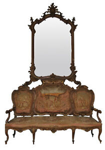 banquette-style-Louis-XV-tapisserie-et-miroir-epoque-fin-XIXeme