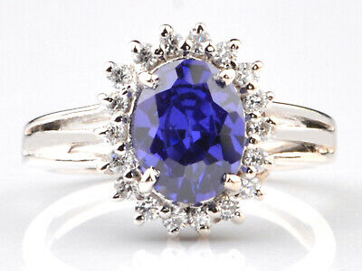 14KT White Gold Natural Blue Tanzanite 1.80Ct EGL Certified Diamond Ring