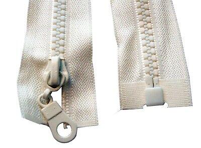 5 x Navy Chunky Plastic Teeth Zips Open End 2 way zippers 70 cms long