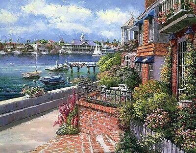 """Art Print Terrace at the Seaside painting Picture Printed on canvas 16""""x20"""" P306"""