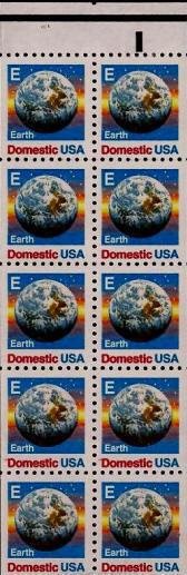 "1988 25c ""E"" Earth, Booklet Pane of 10 Scott 2282a Mint"