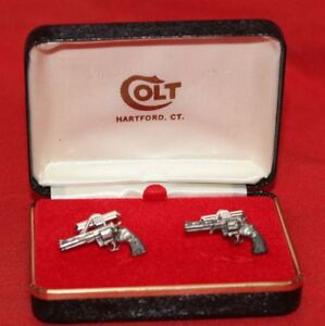 COLT-Firearms-Factory-Python-cuff-links-Silver-Plate-Mint