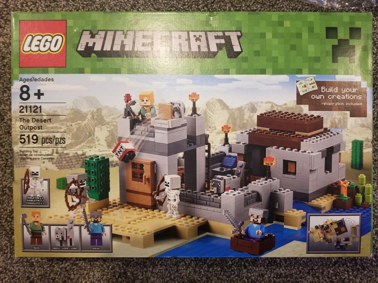 Lego Minecraft El desierto Outpost Set 21121 100% Completo Con Caja Instrucciones