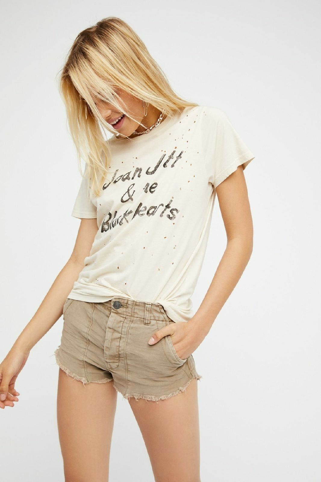 NWT Free People Raw & Patched Standoff Beige Short  VAR SIZES