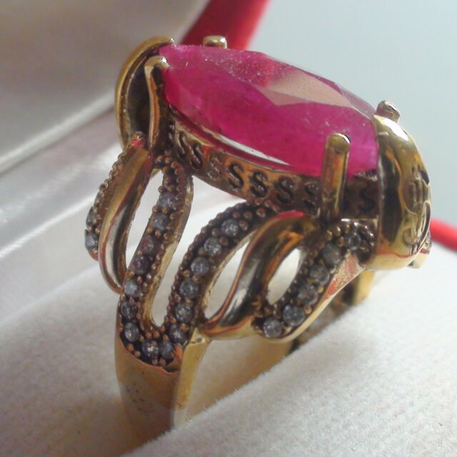 7.0 CT NATURAL BLOOD PINK RED EMERALD BIXBITE CRYSTAL RING 925 SILVER. SIZE 8.75