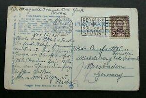 [SJ] USA To Germany New York Skyline 1926 (postcard USED *Red Cross cancellation