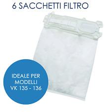 6 Sacchetti Compatibili Aspirapolvere Vorwerk Folletto VK 135 - 136 Adattabili