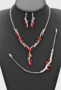3PECES RED PETAL CRYSTAL BRIDAL/PROM NECKLACE , B, EARRING SETS4 d