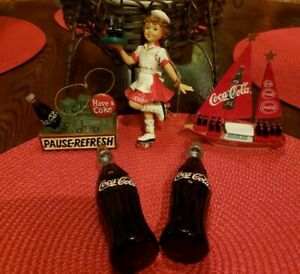 5-Vintage-Coca-Cola-Ornaments-Lot-2-Bottles-Waitress-Sailboat-In-Ice-Box