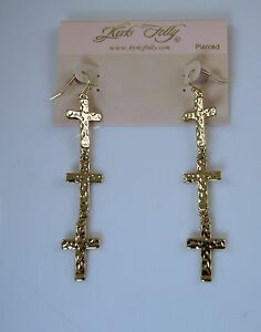 Kirks-Folly-Long-Triple-Cross-French-Wire-Earrings-gold-finish