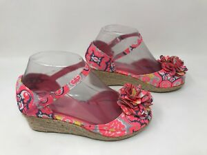 4cf9087ec8ff NEW! with Defects Girl s Bella Pink Floral Wedge Sandal 11457 G68