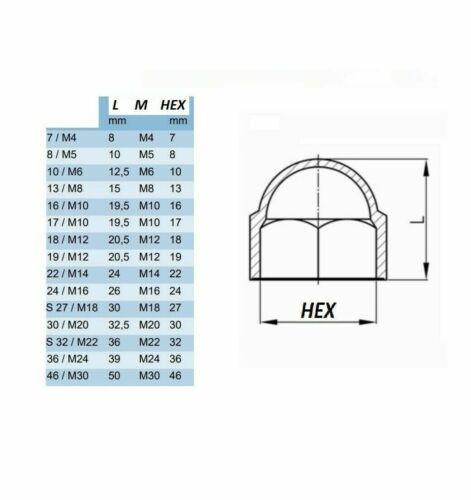 HEXAGONAL NUT COVER PROTECTION CAP SCREW BLACK WHITE GREY PLASTIC DOME BOLT