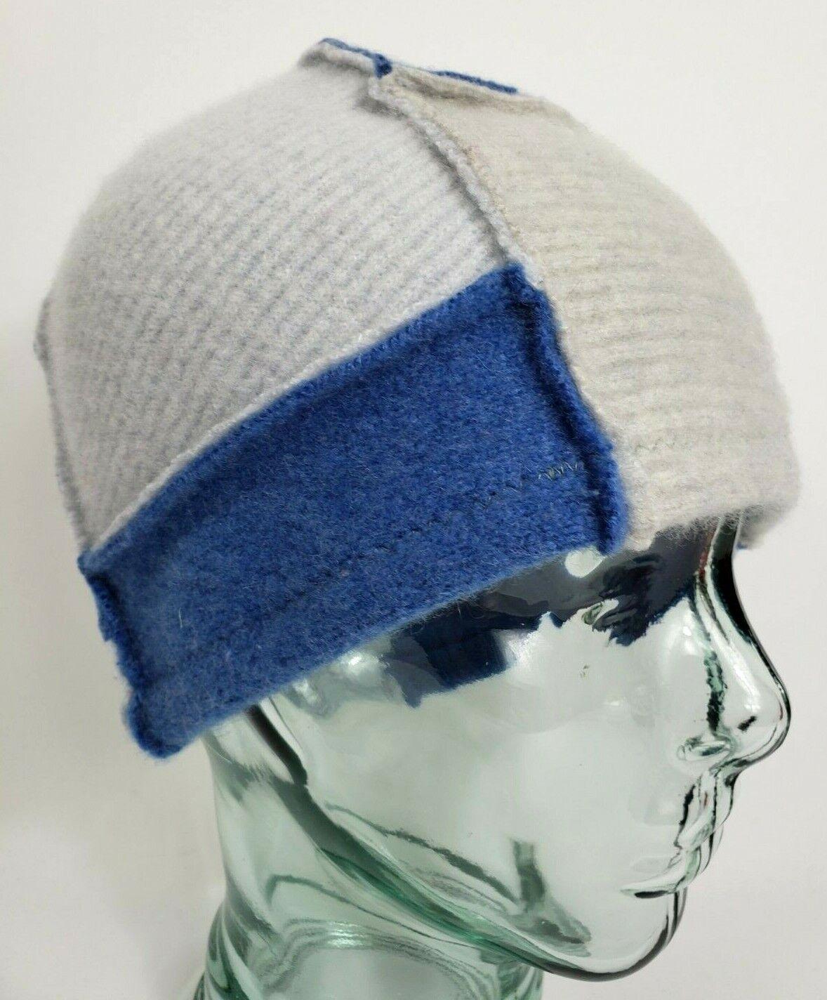 # 100% Pure Cashmere Sombrero Gorro De Lana Gris Azul unisex hecho a Mano Regalo A81