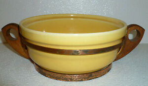 Bauer-Pottery-Casserole-NO-LID-Yellow-Vtg-Ring-Ware-With-Rack-Mid-Century-7-034