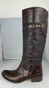 high line brown leather knee length low heel boots good