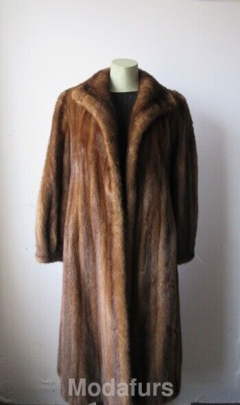 Women's Sz 8 Natural Demi-Buff color Canadian Mink Fur Coat MINT Condition