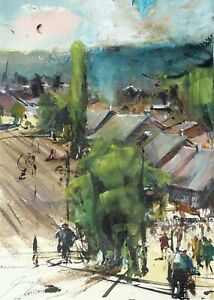 Landscape-Painting-Watercolor-Original-Impressionism-Country-House-Nature-11x8in