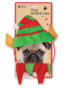 Christmas-Small-Dog-Pet-ELF-Hat-Outfit-Collar-Bell-Xmas-Elastic-Gift-Costume
