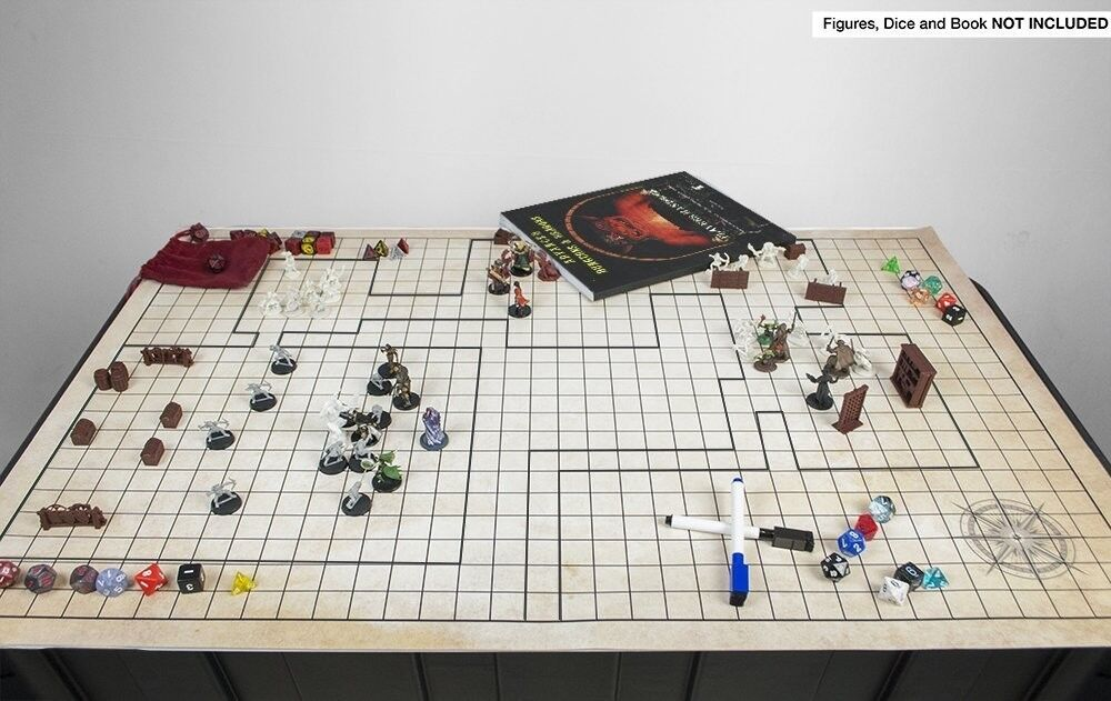 Battle Grid Mat Dungeons and Dragons Role Playing Game Map DnD 4 Free Markers