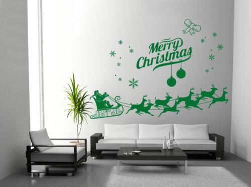 Hand Carving Christmas Santa Claus Deer Shop Window Wall Art Sticker UK RUI22