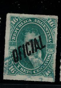 (1884) Gj.22 Cachet Officiel. Manuel Belgrano, 16 C. Utilisé. Très Bon état.-afficher Le Titre D'origine