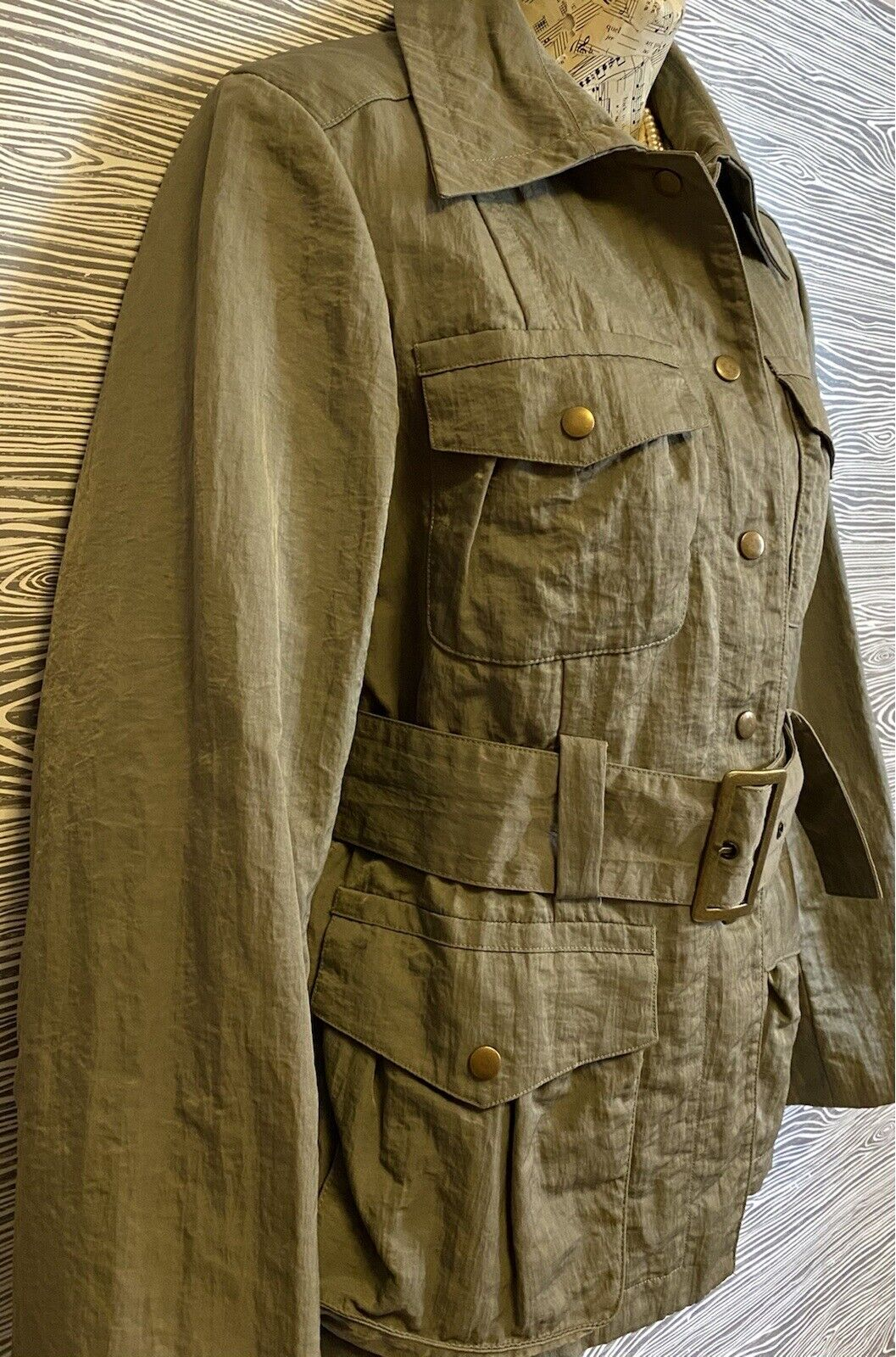 J Jill Olive Green SILKY BELTED Military TRENCH C… - image 9
