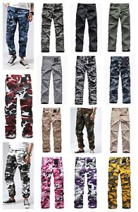 Mens-Military-Army-BDU-Camo-Pants-Casual-Outdoor-Camp-Cargo-Pants-20-Colors