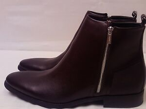 Calvin-Klein-Men-039-s-NEW-Brown-Leather-Side-Zip-Fashion-Boots-Raxton-Size-13