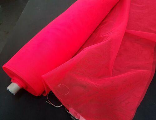 300cm Ancho-Vestido Tela Malla Red-Bodas Neón Rojo Eventos Y Disfraces