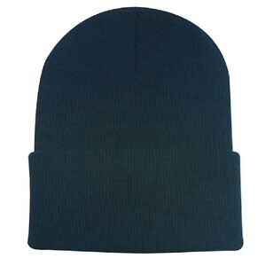 Navy Blue Watch Stocking Cap Beanie Winter Stocking Hat Knit Cold ... 07cd1f47ba6