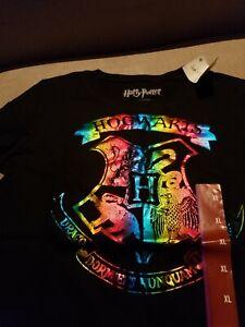 14//16 Harry Potter NWT Hogwarts Crest Distressed Rainbow Girls XL Shirt