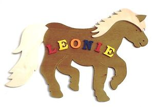 T rschilder namenschild holz t rschild name buchstaben kinderzimmer pferd neu ebay - Kinderzimmer buchstaben ...