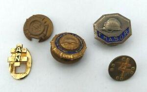 Lot-de-5-insignes-patriotiques-boutonnieres-UNC-FNASOR-Croix-Lorraine