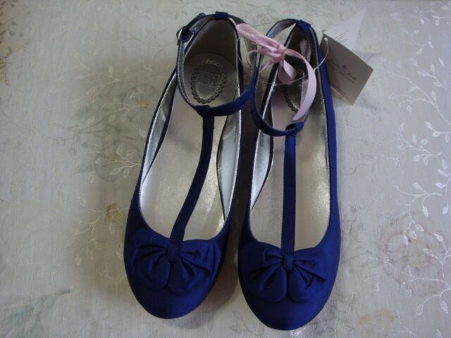 NWT $69 JANIE AND JACK SPECIAL OCCASION BIG GIRLS  SILK BOW SHOES 5K