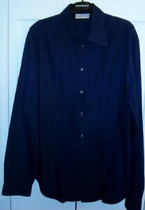 Emporio-Armani-Men-039-s-Navy-Blue-Long-Sleeve-Button-Down-Shirt-Large-Made-in-Italy