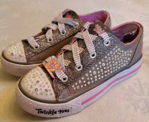 11 Twinkle Toes Grey Sparkle Lace Up