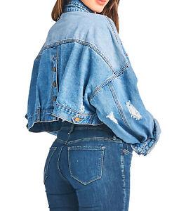 Details about Tough Cookie's Women's Premium Vintage Washed Crop Denim Jacket