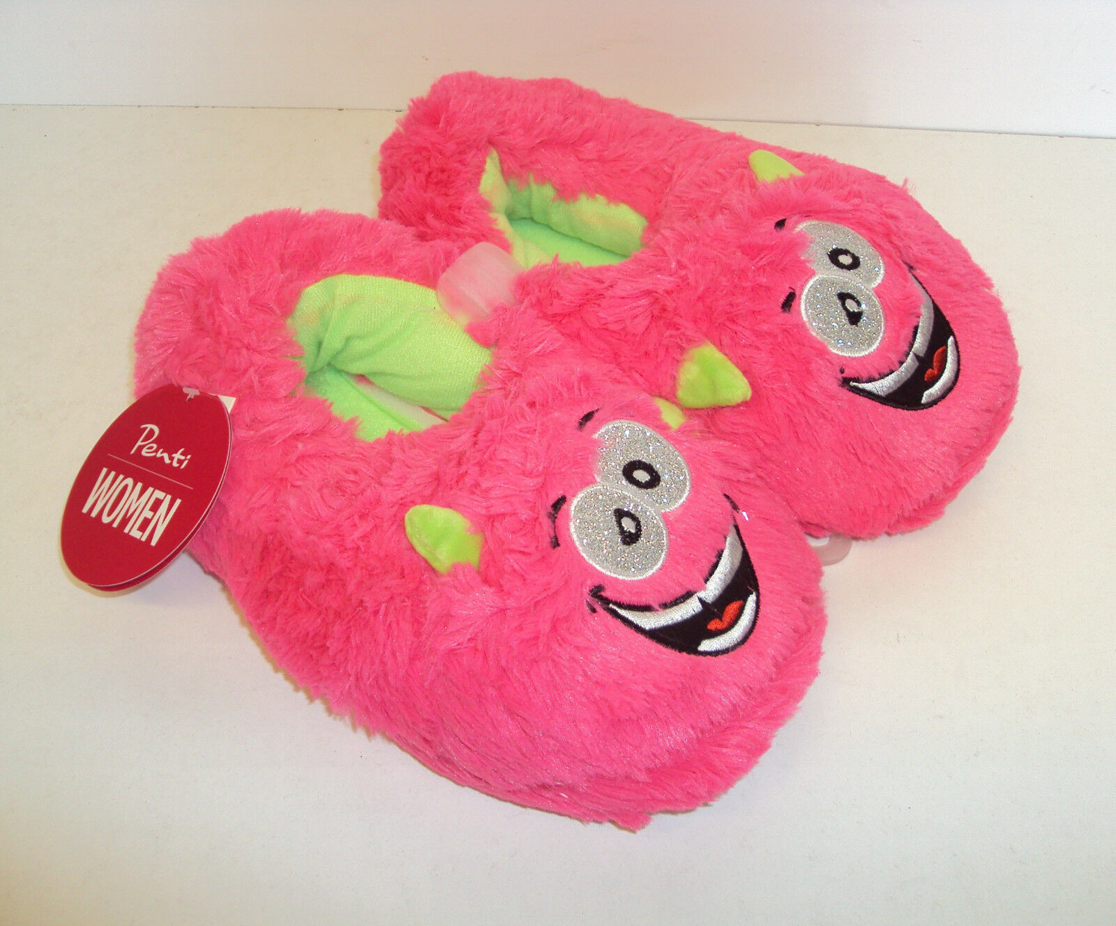 Ladies Slippers Girls Novelty Cosy Gift Slippers Ladies Monster Pink New Sizes 2-3, 4-5, 6-7 15bbc5