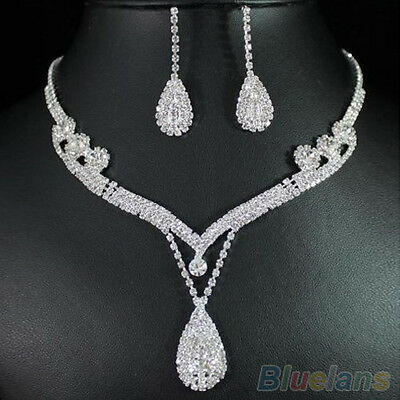 New Fashion Women Clear Austrian Crystal Rhinestone Drop Necklace Earrings Set
