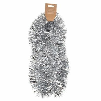 2m Silver Tinsel - Xmas Tree Decoration,holly Berry,star Garland Oficial 2019