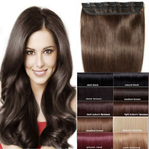 THICK-One-Piece-Clip-In-Brazilian-Real-100-Remy-Human-Hair-Extensions-US-P196