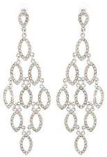 Zest Clear Crystal Oval Drop Chandelier Pierced Earrings Silver-Look