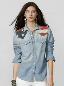 Femmes Neuf Drapeau tats Polo Occidental Ralph Lauren T shirt Chambray unis rwZxvrqFPn