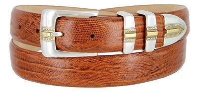 "Carmelo Italian Calfskin Leather Designer Dress Golf Belts for Men 1-1/8"" Wide"