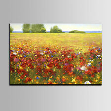 Handgemalte Blumen Ölgemälde auf Leinwand Rot Blumenmeer Wand Dekor kein Rahmen