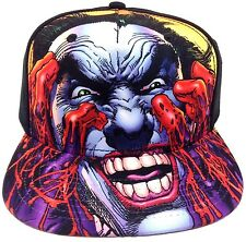 DC COMICS THE JOKER BIG FACE BLOOD SUBLIMATED BLACK SNAPBACK HAT CAP ADJUSTABLE