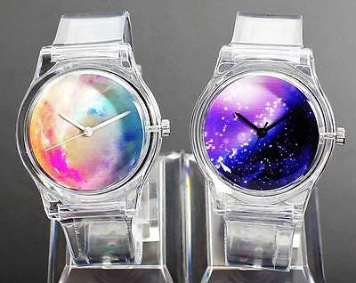 Space Universe Star Watches White Color Transparent Sport Unisex Rubber Watch